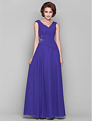 cheap -A-Line V-neck Floor Length Chiffon Mother of the Bride Dress with Beading Appliques Draping Criss Cross by LAN TING BRIDE®