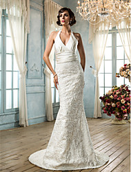 cheap -Mermaid / Trumpet V Neck Sweep / Brush Train Lace Satin Custom Wedding Dresses with Sash / Ribbon Button by LAN TING BRIDE®