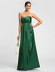 Sheath / Column Strapless Floor Length Stretch Satin Bridesmaid Dress with Sash / Ribbon Cascading Ruffles Side Draping by LAN TING BRIDE®