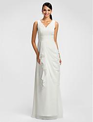 Sheath / Column V-neck Floor Length Chiffon Bridesmaid Dress with Draping by LAN TING BRIDE®