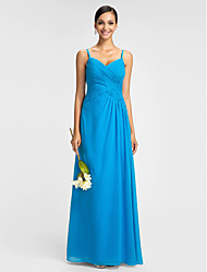 Sheath / Column Spaghetti Straps Floor Length Chiffon Bridesmaid Dress with Draping Criss Cross by LAN TING BRIDE®
