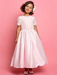 cheap -A-Line / Princess Ankle Length Flower Girl Dress - Lace / Taffeta Short Sleeve Jewel Neck with Lace by LAN TING BRIDE®