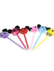 economico -Animal Tie tessile ornamento Penna a sfera (3PCS colore casuale)
