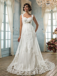 Sheath / Column Square Neck Court Train Tulle Wedding Dress with Crystal Beading Appliques Sash / Ribbon by LAN TING BRIDE®