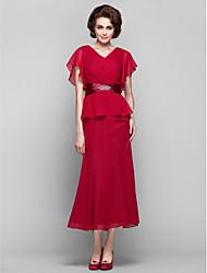 cheap -Sheath / Column V-neck Tea Length Chiffon Mother of the Bride Dress with Crystal Detailing Sash / Ribbon Criss Cross by LAN TING BRIDE®