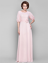 cheap -Sheath / Column Scoop Neck Floor Length Chiffon Dress with Beading Lace Sash / Ribbon Flower Ruched by LAN TING BRIDE®