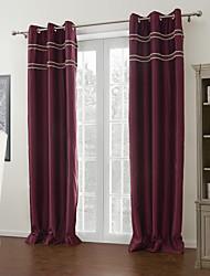 To paneler Vindue Behandling Moderne , Ensfarvet 100% Polyester Polyester Materiale Gardiner forhæng Hjem Dekoration For Vindue