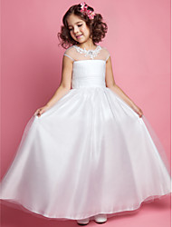cheap -A-Line Princess Floor Length Flower Girl Dress - Tulle Sleeveless Jewel Neck with Beading Appliques Ruched by LAN TING BRIDE®