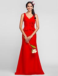 baratos -Vestido de Madrinha - Vermelho Tubo/Coluna Decote em V/Alças Longo Chiffon Tamanhos Grandes