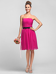 A-Line Princess Strapless Knee Length Chiffon Bridesmaid Dress with Bow(s) Sash / Ribbon Ruching by LAN TING BRIDE®
