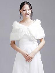 Fur Wraps / Wedding  Wraps Shrugs Faux Fur White Wedding / Party/Evening Sequin Lace-up Yes