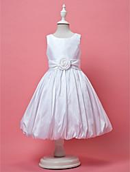 A-Line Princess Knee Length Flower Girl Dress - Taffeta Sleeveless Jewel Neck with Draping by LAN TING BRIDE®