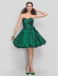 A-Line Princess Sweetheart Short / Mini Taffeta Cocktail Party Dress with Bow(s) Sash / Ribbon Criss Cross by TS Couture®