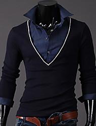 INMUR Мужская мода синий V шеи из двух частей, как вязание топы