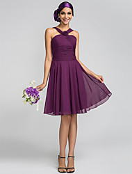cheap -A-Line Princess Halter Knee Length Chiffon Bridesmaid Dress with Flower Ruched Criss Cross by LAN TING BRIDE®