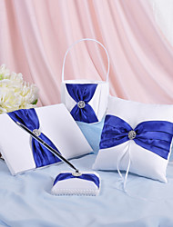 4 Collection Set White / Blue Guest Book / Pen Set / Ring Pillow / Flower Basket