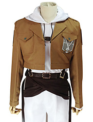 cheap -Inspired by Attack on Titan Annie Leonhardt Anime Cosplay Costumes Cosplay Suits Solid Long Sleeves Coat Top Pants Belt Waist Accessory