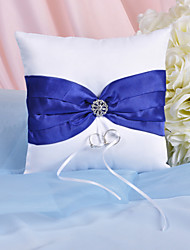 Splendor Ring Pillow With Royal Blue Sash And Rhinestones Wedding Ceremony