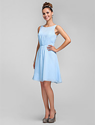 cheap -A-Line Princess Bateau Neck Knee Length Chiffon Bridesmaid Dress with Bow(s) Side Draping by LAN TING BRIDE®