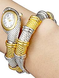 Femme Montre Tendance Bracelet de Montre Quartz Alliage Bande Rigide Elégant Argent Doré