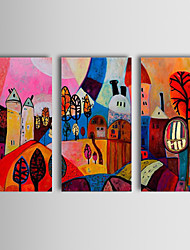 cheap -Oil Painting Hand Painted - Abstract Classic Traditional Three Panels
