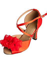 Femininos personalizados graciosas cetim superior sapatos de dança