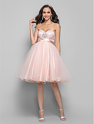 cheap -A-Line Sweetheart Knee Length Tulle Cocktail Party Homecoming Prom Dress with Beading by TS Couture®