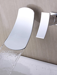 Contemporary Wall Mounted Waterfall with  Ceramic Valve Single Handle Two Holes for  Chrome , Bathtub Faucet