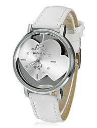 Women's Heart-shaped Translucence Dial PU Band Quartz Analog Wrist Watch (White) Cool Watches Unique Watches