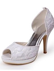 Cetim de bom gosto e Renda Peep Toe Bombas Wedding Shoes