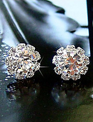 cheap -Women's Stud Earrings Basic Simple Style Fashion Costume Jewelry Crystal Zircon Cubic Zirconia Imitation Diamond Alloy Flower Sunflower
