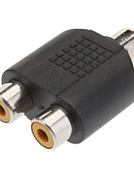cheap -1 to 2 Female RCA Plug AV Splitter Adapter