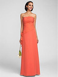 Sheath / Column Strapless Floor Length Chiffon Bridesmaid Dress with Flower(s) Ruching Side Draping by LAN TING BRIDE®