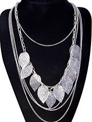 cheap -Women's Leaf Pendant Necklace Statement Necklace - Tassel Bohemian Long Multi Layer Fashion Leaf Silver Necklace For Party Special