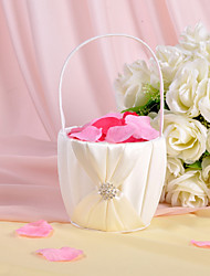 cheap -Flower Basket In Ivory Satin With Rhinestones And Sash Wedding Ceremony