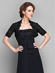 Women's Wrap Shrugs Short Sleeve Lace Black Wedding Party/Evening Wide collar 39cm Beading Lace Open Front