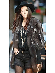 cheap -Half Sleeve Collarless Fox Fur Party/Casual Coat