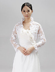 cheap -Long Sleeves Lace Wedding Wedding  Wraps With Rhinestone Appliques Coats / Jackets