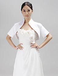 cheap -Short Sleeves Satin Wedding Party Evening Wedding  Wraps Coats / Jackets