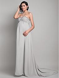 Tubinho Sem Alças Decote Princesa Cauda Escova Chiffon Evento Formal Vestido com Miçangas Pregueado Franzido de TS Couture®