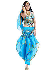 cheap -Belly Dance Outfits Women's Performance Chiffon Beading Coins Sequins 4 Pieces Sleeveless Top Pants Headpieces Hip Scarf