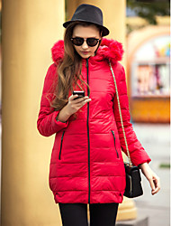 cheap -TS Fur Collar Slim Long Hoodied Down Jacket Warm and comfortable temperament
