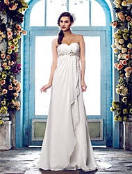 A-Line Sweetheart Sweep / Brush Train Chiffon Wedding Dress with Beading Criss-Cross by LAN TING BRIDE®