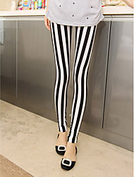 cheap -Women's Black-white Stripe Leggings