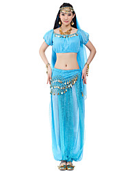 cheap -Belly Dance Outfits Women's Chiffon Beading Coin Natural