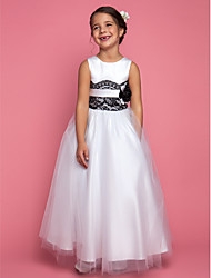 cheap -A-Line / Princess Floor Length Flower Girl Dress - Satin / Tulle Sleeveless Jewel Neck with Lace / Sash / Ribbon / Flower by LAN TING BRIDE®