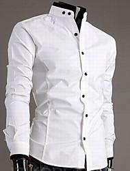 Männer Casual Kontrast Farbe Cotton Shirt
