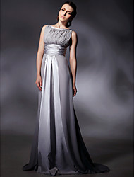 cheap -Sheath / Column Jewel Neck Sweep / Brush Train Chiffon Stretch Satin Evening Dress with Draping by TS Couture®