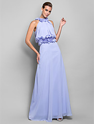 Sheath / Column High Neck Floor Length Chiffon Formal Evening Military Ball Dress with Draping Flower(s) by TS Couture®