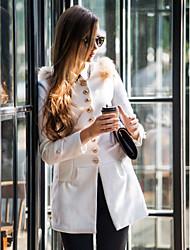 baratos -Mulheres Casaco Sólido, Lã Retro Fashion